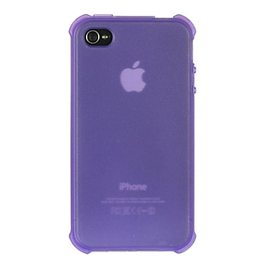 Insten Crystal TPU Rubber Candy Skin Transparent Case Cover For Apple iPhone 4 - Purple