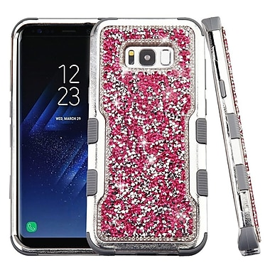 Insten Silver Plating Mini Crystals Back Hard PC/Silicone Hybrid Case for Samsung Galaxy S8 Plus S8+ - Pink/Iron Gray