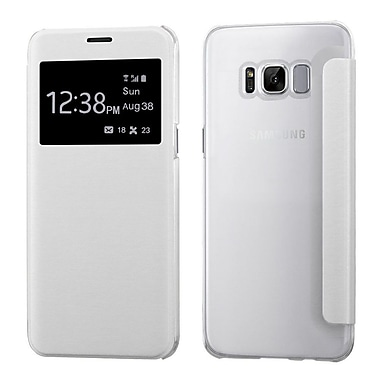 Insten Silk Texture MyJacket Leather Flip Case (with Frosted Tray) For Samsung Galaxy S8+ S8 Plus - White
