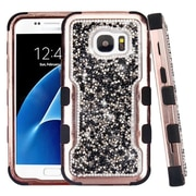 Insten Rose Gold Plating Mini Crystals Back TUFF Vivid Hard PC/Silicone Hybrid Case for Samsung Galaxy S7 - Black
