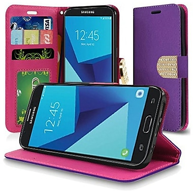 Insten PU Leather Bling Credit Card Wallet Stand Flip Case For Samsung Galaxy J7 (2017) - Purple