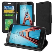 Insten Flip Leather Fabric Case Lanyard w/stand/card holder/Photo Display For Coolpad Defiant - Black