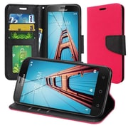 Insten Flip Leather Fabric Case Lanyard w/stand/card slot/Photo Display For Coolpad Defiant - Hot Pink