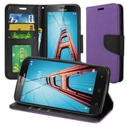 Insten Book-Style Leather Fabric Case Lanyard w/stand/card holder/Photo Display For Coolpad Defiant - Purple