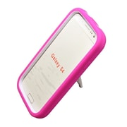 Insten Symbiosis Stand Hybrid Silicone/Hard PC Case Cover For Samsung Galaxy S4 - Hot Pink/White