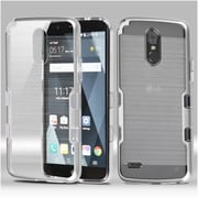Insten Metallic Transparent Clear TUFF Brushed Panoview Hybrid Case Cover For LG Stylo 3 - Silver