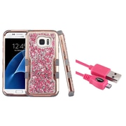 Insten Plating Crystals Back Hard PC/Silicone Hybrid Case for Samsung Galaxy S7 Edge - Pink/Gray (+ Micro USB cable)