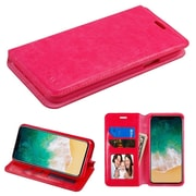 Insten Folio Leather Fabric Case w/stand/card holder/Photo Display For Apple iPhone X - Hot Pink