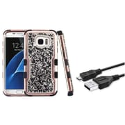 Insten Plating Crystals Back Hard PC/Silicone Hybrid Case for Samsung Galaxy S7 Edge - Black (+ Micro USB cable)