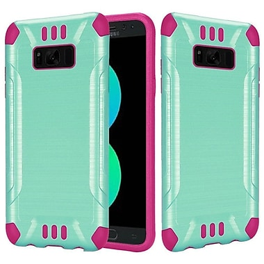 Insten Slim Armor Brushed Metal Design Hybrid PC/TPU Case Cover For Samsung Galaxy S8+ S8 Plus - Teal/Hot Pink