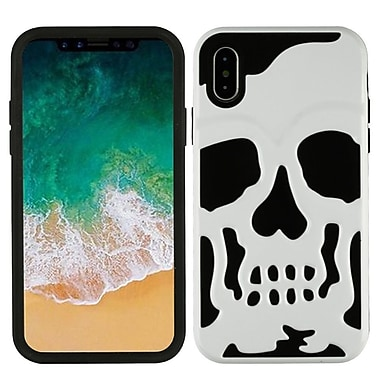 Insten Skullcap PC/TPU Rubber Protective Hybrid Case Cover for Apple iPhone X - White/Black