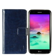 Insten Detachable Magnetic Flip Leather Fabric Case w/card slot For LG Harmony/K10 (2017)/K20 Plus/K20 V - Navy