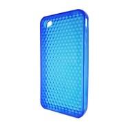 Insten TPU Rubber Hexagonal Transparent Skin Gel Case Cover For Apple iPhone 4 - Blue