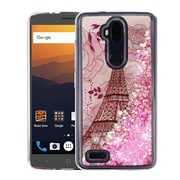 Insten Hearts Quicksand Glitter Eiffel Tower Hybrid PC/TPU Case Cover For ZTE Blade Max 3 / Max XL N9560 - Pink