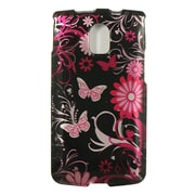 Insten Butterfly Hard Snap On Back Protective Case Cover For Pantech Magnus P9090 - Black/Pink