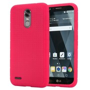 Insten Rugged Silicone Rubber Skin Soft Back Gel Case Cover For LG Stylo 3 - Hot Pink