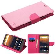 Insten Liner MyJacket Wallet Leather Credit Card Stand Flip Case For ZTE Max XL N9560 - Pink/Hot Pink