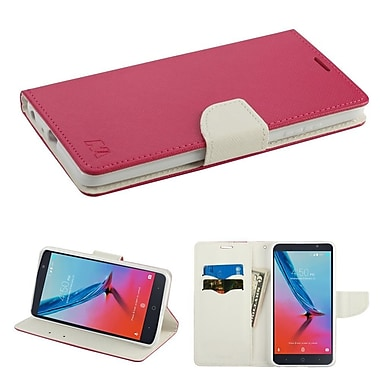Insten Stand Folio Flip Leather Case Cover for ZTE Blade Z Max/Sequoia - Hot Pink