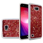 Insten Liquid Quicksand Glitter Fused Flexible Hybrid Hard Case Cover For LG X Power 2 - Rose