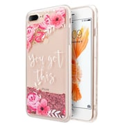 Insten Sparkling QuickSand Flowers PC/TPU Rubber Hybrid Case Cover for Apple iPhone 6 Plus/6s Plus/7 Plus - Pink