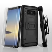 Insten Dual Layer Hybrid Stand PC/TPU Rubber Holster Case Cover w/Bundled for Samsung Galaxy Note 8 - Black