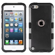 Insten Tuff Carbon Fiber Dual Layer Hybrid PC/TPU Rubber Case Cover for Apple iPod Touch 5th Gen/6th Gen - Black