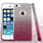 Insten Gradient Glitter Dual Layer Hybrid PC/TPU Rubber Case Cover for Apple iPhone 5/5S - Pink