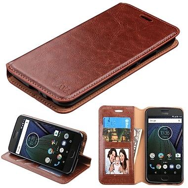 Insten MyJacket Leather Wallet Credit Card Cover Stand Case For Motorola Moto G5 Plus / X (2017) - Brown