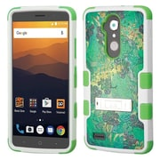 Insten Tuff Oil-Painting Leaves Hybrid Stand PC/TPU Rubber Case for ZTE Blade Max 3/Max Blue/Max XL N9560 - Green