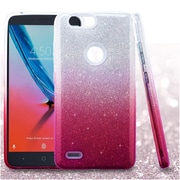 Insten Gradient Glitter Dual Layer Hybrid PC/TPU Rubber Case Cover for ZTE Blade Z Max/Sequoia - Pink