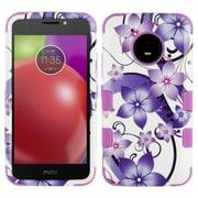 Insten Hibiscus Flower Dual Layer Hybrid PC/TPU Rubber Case Cover for Motorola Moto E4 - Purple