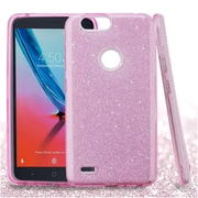 Insten Glitter Dual Layer Hybrid PC/TPU Rubber Case Cover for ZTE Blade Z Max/Sequoia - Pink