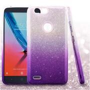 Insten Gradient Glitter Dual Layer Hybrid PC/TPU Rubber Case Cover for ZTE Blade Z Max/Sequoia - Purple