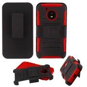 Insten Advanced Armor Hard Hybrid Plastic TPU Case w/Holster For Motorola Moto E4 - Black/Red