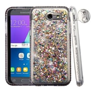 Insten Diamante Quicksand (Hearts) Glitter Hybrid Case For Galaxy Amp Prime 2/Express Prime 2/J3 (2017) - Silver