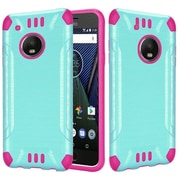 Insten Slim Armor Brushed Metal Hybrid PC/TPU Case Cover For Motorola Moto G5 Plus - Teal/Hot Pink