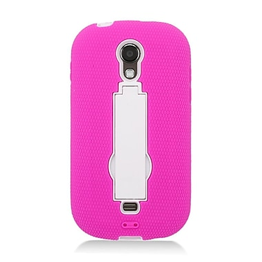 Insten Symbiosis Rugged Hybrid Silicone/Hard PC Stand Case Cover For Samsung Galaxy Light - Hot Pink/White