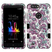 Insten European Flowers Dual Layer Hybrid PC/TPU Rubber Case Cover for ZTE Blade Z Max/Sequoia - Purple
