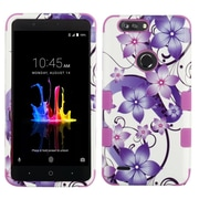 Insten Hibiscus Flower Dual Layer Hybrid PC/TPU Rubber Case Cover for ZTE Blade Z Max/Sequoia - Purple