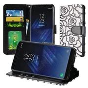 Insten Rose Flower Design Leather Wallet Flip Card Stand Case For Samsung Galaxy S8+ S8 Plus - White