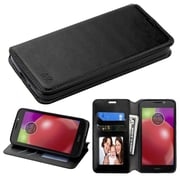 Insten Flip Leather Fabric Case w/stand/card holder/Photo Display For Motorola Moto E4 - Black