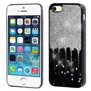 Insten Glittering Silver Stars (Black) Krystal Gel Series TPU Candy Skin Case For Apple iPhone SE / 5 / 5S - Silver