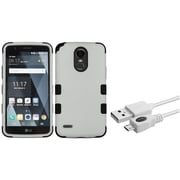 Insten Hybrid Hard PC/Silicone Shockproof Case for LG Stylo 3 / Stylo 3 Plus - Gray/Black (Bundle with Micro USB cable)