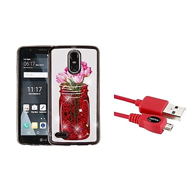 Insten Tulip Quicksand Glitter Hybrid Protective Case for LG Stylo 3 / Stylo 3 Plus - Red (Bundle with Micro USB cable)