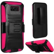 Insten Hybrid Dual Layer PC/Silicone Side Kickstand Holster Case Cover For Samsung Galaxy S8+ S8 Plus - Black/Hot Pink