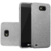 Insten Hybrid Clear PC/TPU Case Cover with Glitter Paper For LG V9 / X Venture - Smoke