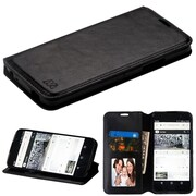 Insten Book-Style Leather Fabric Cover Case w/stand/card slot/Photo Display For Alcatel Idol 5 - Black