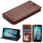 Insten Book-Style Leather Fabric Cover Case w/stand/card holder/Photo Display For Coolpad Defiant - Brown