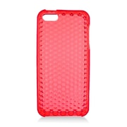 Insten TPU Rubber Hexagonal Transparent Skin Gel Case Cover For Apple iPhone 5 / 5S - Red