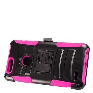 Insten Advanced Armor Hybrid Stand Hard PC/Silicone Holster Case for ZTE Sequoia - Black/Hot Pink